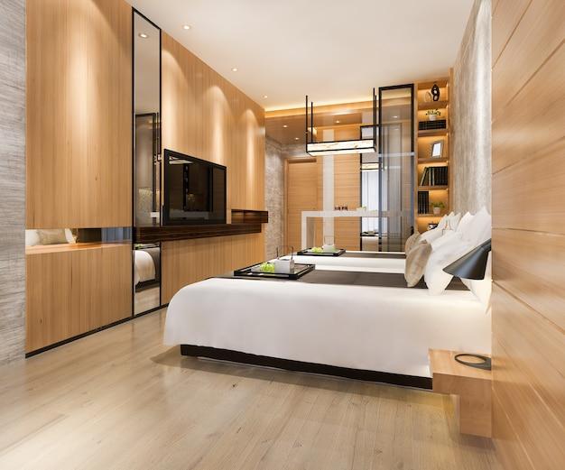 트윈 침대가 있는 리조트 호텔의 3d 렌더링 럭셔리 침실 스위트