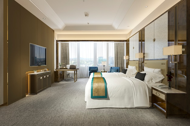 3d rendering luxury bedroom suite in resort high rise hotel with twin bed