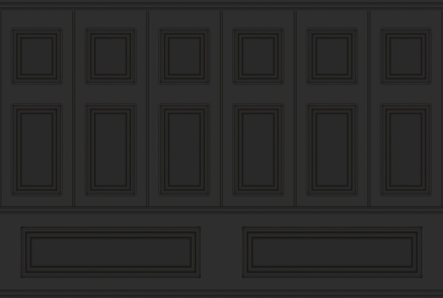 3d rendering. luxury black classical square pattern wood vintage design wall texture background.