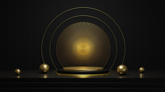 3d rendering of luxury black and gold podium with gold ring isolated on black background