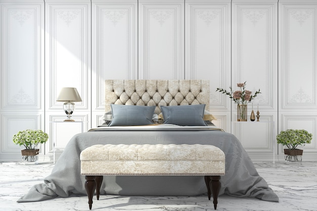3d rendering luxury blue bed in white classic bedroom