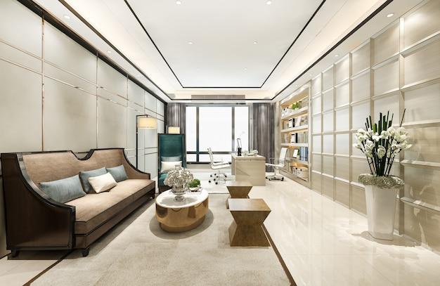 3d-рендеринг роскошной деловой встречи и рабочей комнаты в исполнительном офисе