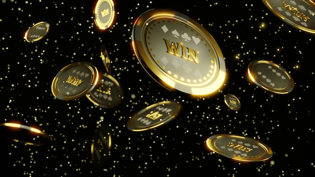3d rendering. luxury casino chip gold and diamond 3d rendering image.  poker chips falling