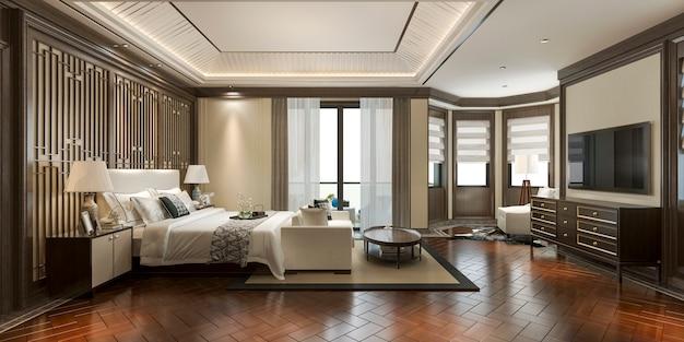 リゾートホテルの3 dレンダリング高級中国寝室スイート