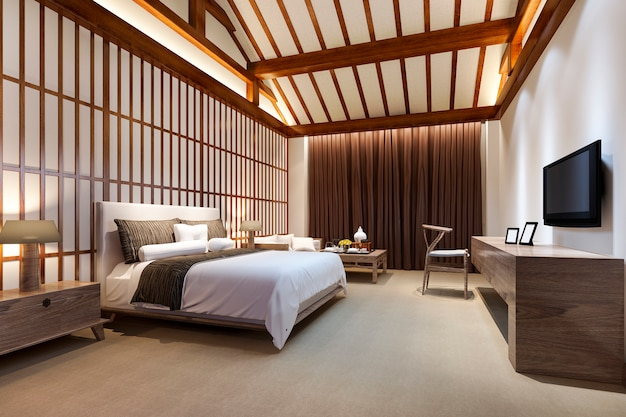 3d rendering luxury chinese bedroom suite in resort hotel
