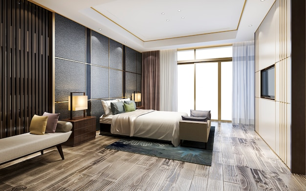 3d rendering luxury classic modern bedroom suite in hotel
