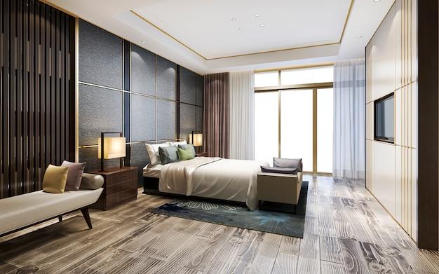 ホテルの3 dレンダリング高級クラシックモダンなベッドルームスイート