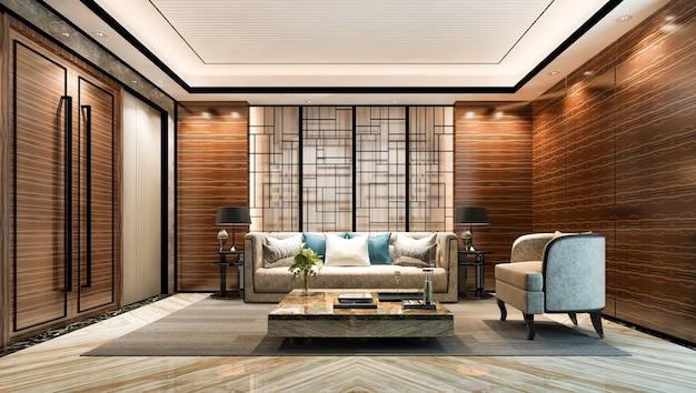 호텔의 거실과 로비 홀에 있는 3d 렌더링 럭셔리 클래식 벽