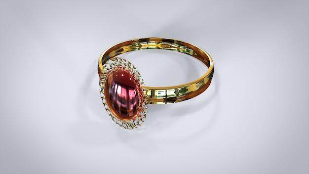 3d rendering luxury diamonds ring on white background