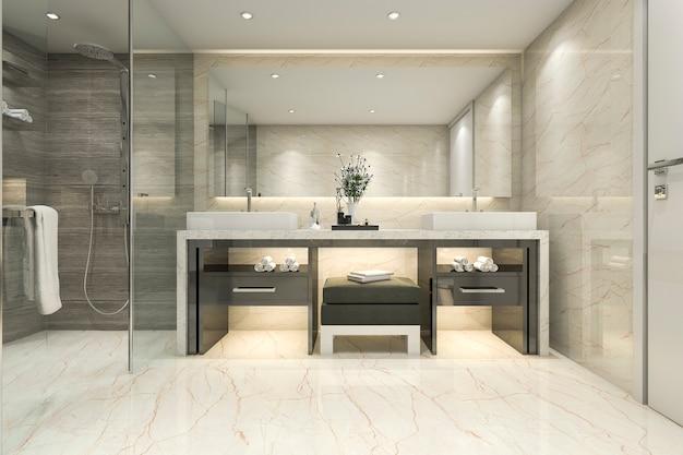 3d rendering of luxury modern bathroom
