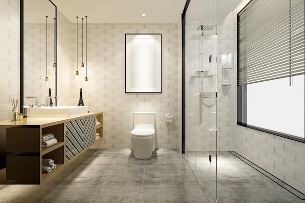 3d rendering of luxury modern bathroom Premium Photo