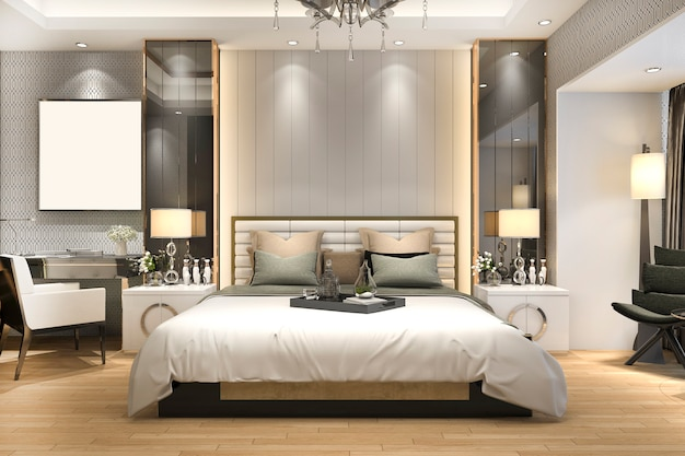 3d rendering luxury modern bedroom suite in hotel