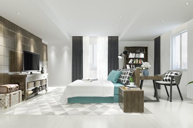 3d rendering of luxury modern bedroom suite in hotel