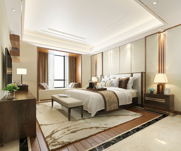 3d rendering of luxury modern bedroom suite in hotel