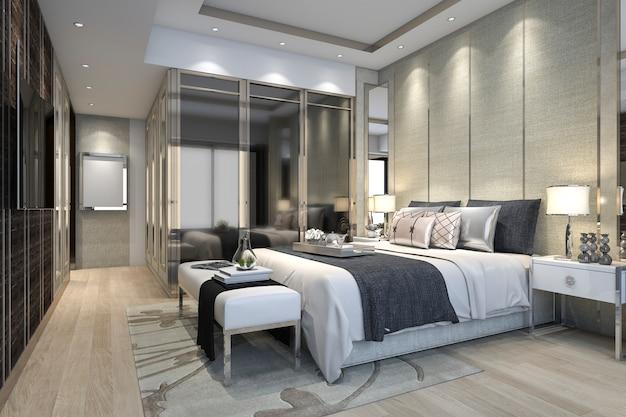 3d рендеринг роскошный современный номер люкс в отеле с гардеробом и гардеробной