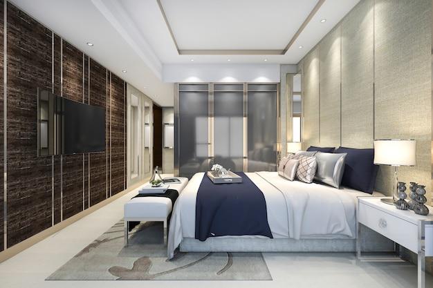 ワードローブとクローゼットの中を歩くとホテルの3 dレンダリングの豪華なモダンなベッドルームスイート