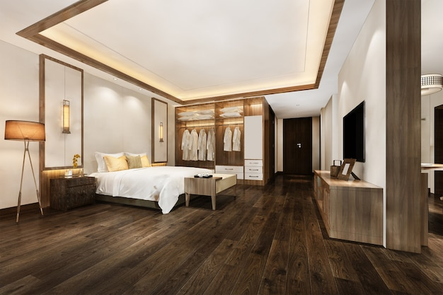 ワードローブとウォークインクローゼットを備えたホテルの3dレンダリングの豪華でモダンなベッドルームスイート