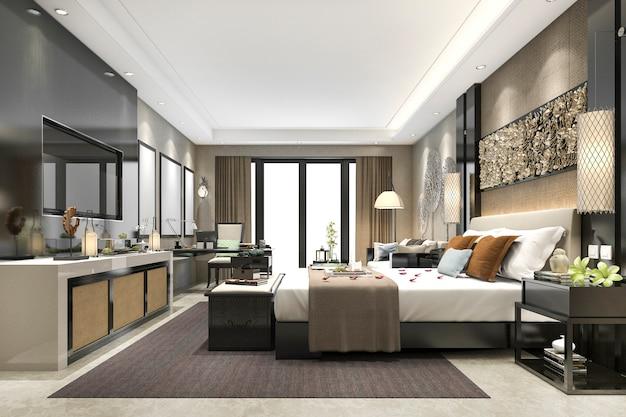 ホテルの3 dレンダリングの豪華なモダンなベッドルームスイート