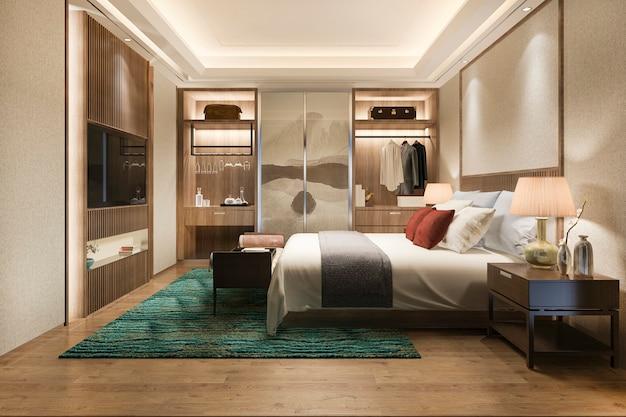 ワードローブとクローゼットの中を歩くと3 dレンダリングの豪華なモダンなベッドルームスイートテレビ