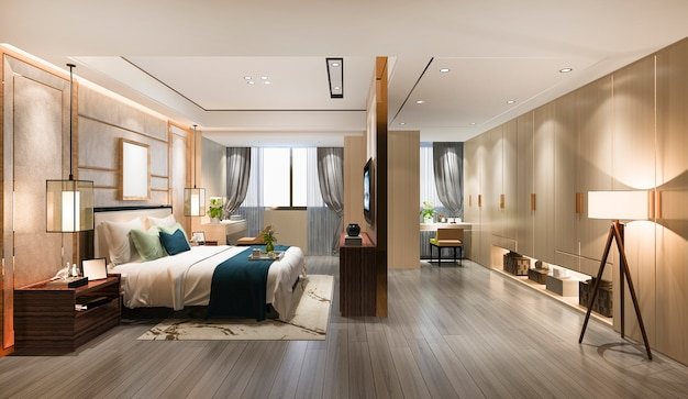 3d rendering luxury modern bedroom suite tv with wardrobe and walk in closet and make up table