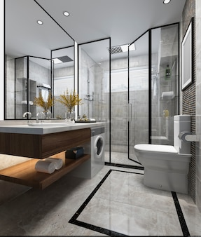 Modern loft bathroom interior design,white bathtub on ...