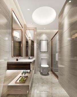 3d rendering luxury modern design bathroom and toilet