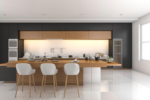 3d rendering of luxury modern kitchen