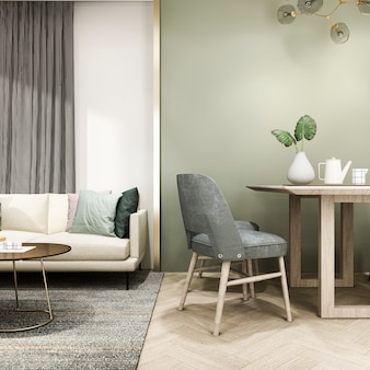 3d rendering luxury and modern living room with sofa and dining table
