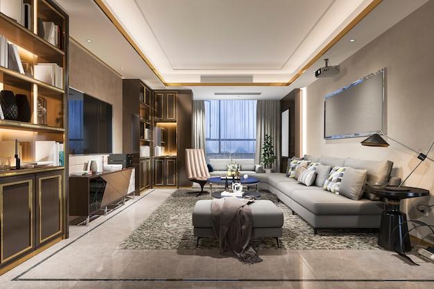 3d rendering of luxury modern living room