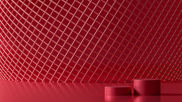 3d rendering luxury new background red wireframe of mesh circle, 3d illustration