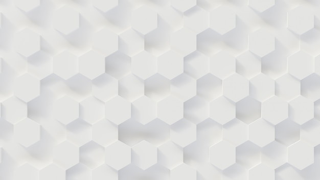 3d rendering luxury new background, white honeycomb hexagon pattern honeycomb, 3d illustration