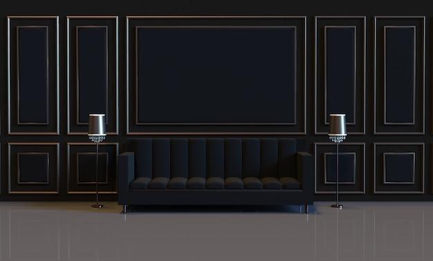 3d рендеринг роскошный дизайн интерьера гостиной с диваном и отделкой панелями на мягкой стене