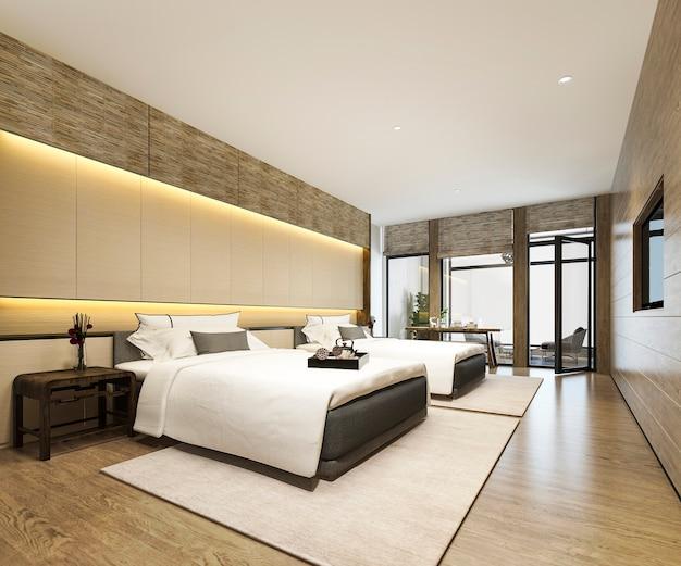 リゾートホテルとリゾートのツインベッド付きの3 dレンダリングの豪華なトロピカルベッドルームスイート
