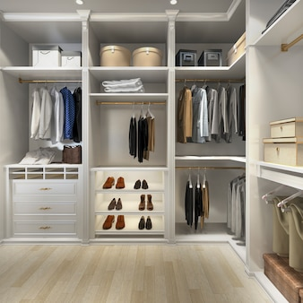 3d rendering luxury wood walk in closet with wardrobe