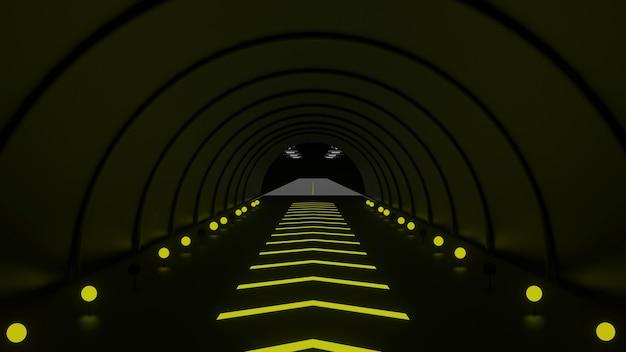 3d рендеринг сделать туннель с достаточным освещением для безопасности вождения