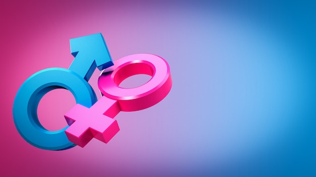 3d rendering of male and female sex symbols that are equal or live together.