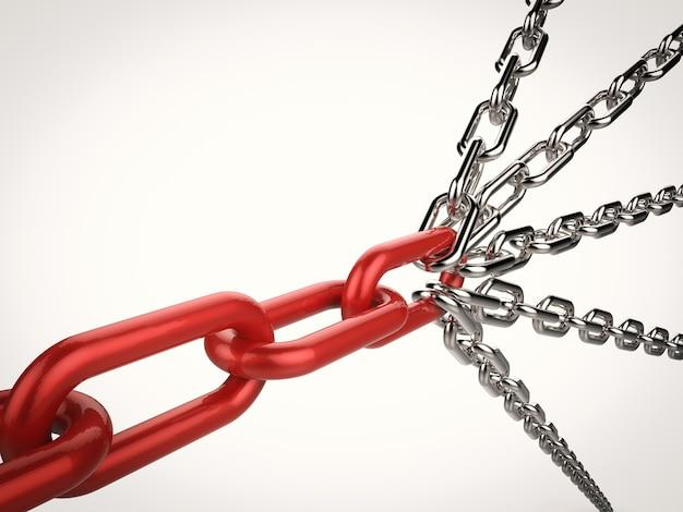 3d-рендеринг множества цепей, соединенных для сильной