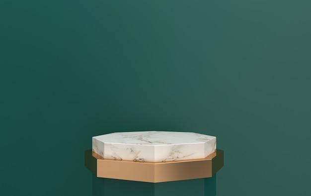 녹색 배경에 위치한 3d 렌더링 대리석 받침대, 금 세부 사항이있는 다각형 플랫폼, 3d 렌더링, 기하학적 형태의 장면, 최소한의 추상적 인 배경