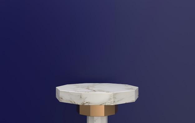 보라색 배경에 위치한 3d 렌더링 대리석 받침대, 금 세부 사항이있는 대리석 플랫폼, 3d 렌더링, 기하학적 형태의 장면, 최소한의 추상적 인 배경