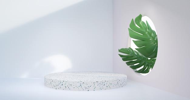 3d rendering of marble podium display.