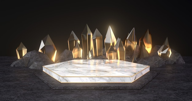 3d rendering of marble podium and gold crystal.