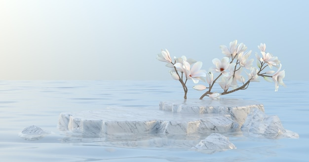3d rendering of marble podium and magnolia flower.