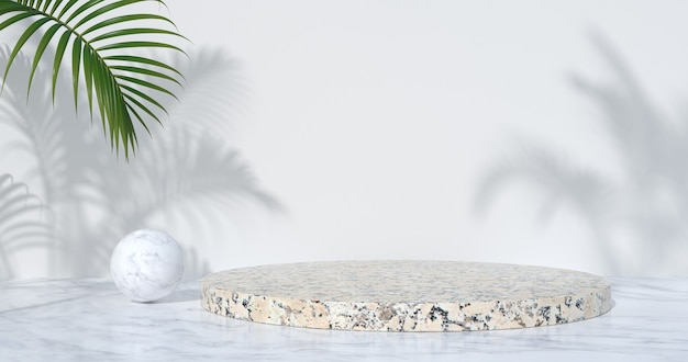 3d rendering of marble podium and palm trees.