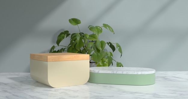 3d rendering of marble podium and plant.