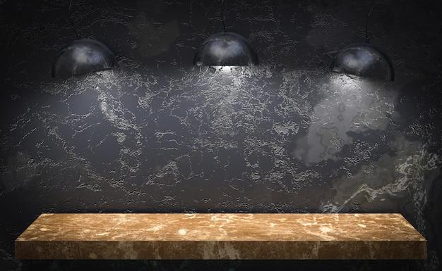 空のコピースペースを持つディスプレイ製品スタンドの3 dレンダリング、大理石スタジオテーブル豪華な背景