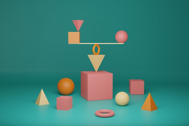3d rendering, mathematics and physics podium background