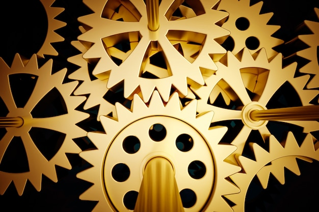 3d rendering of a mechanism of cogwheels in golden shades ideal for backgrounds