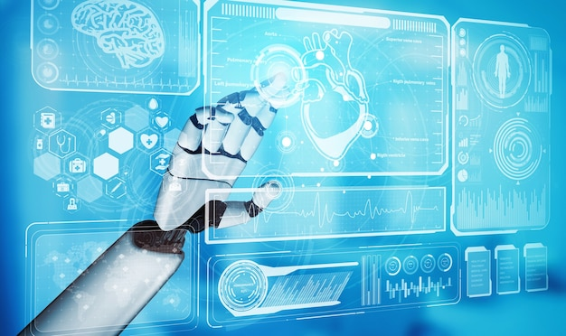 3d rendering medical artificial intelligence robot working in future hospital