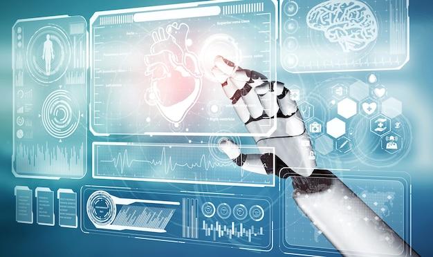 3d рендеринг медицинского робота с искусственным интеллектом