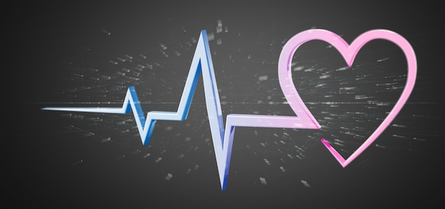 3d rendering medical heart curve isolated